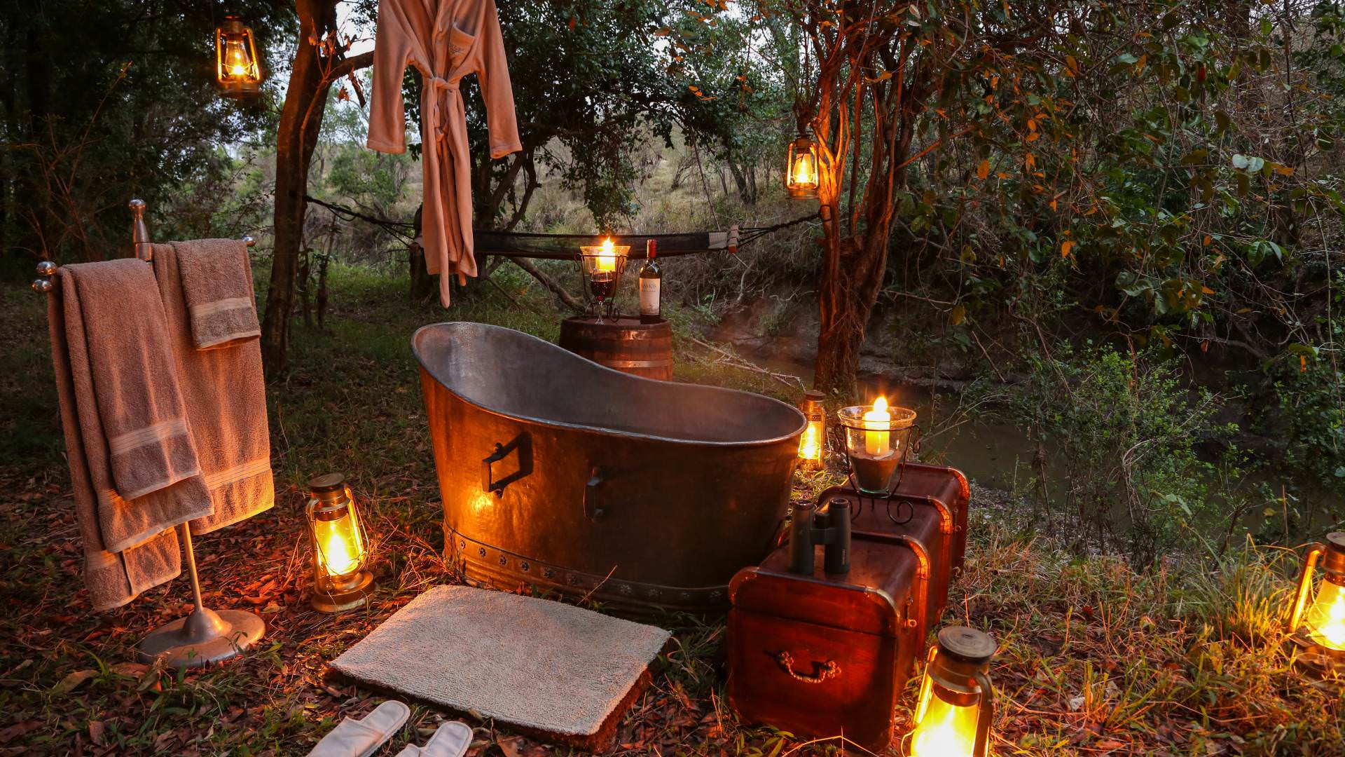 Bath time at mara expeditions camp