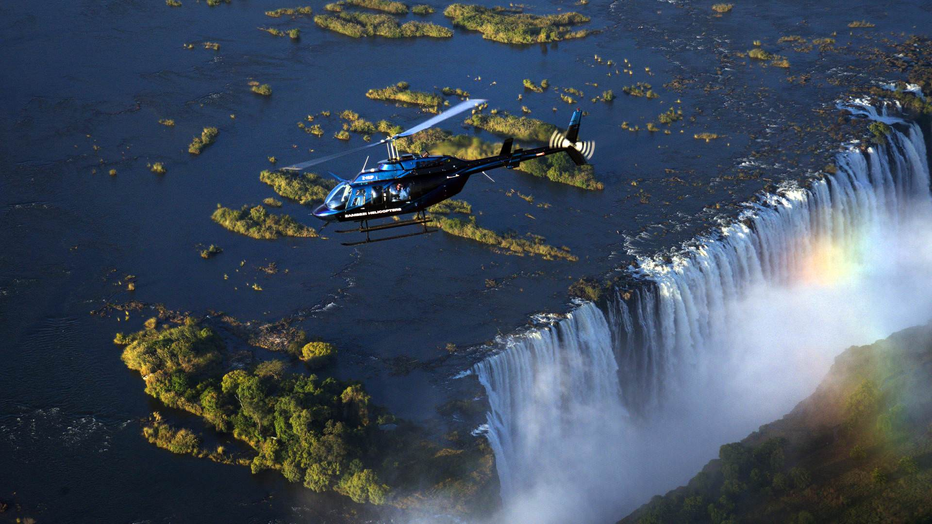 Wild Horizons helicopter over the falls